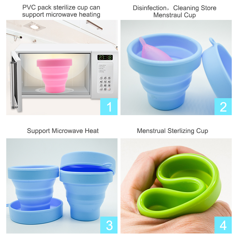 Microwave Heat Menstrual Sterilizing Cup Collapsible Women Sterilizing Cup Recyclable disinfection PVC Pack Sterilizer Cup