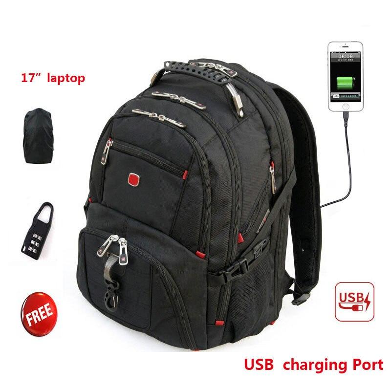 """Neue Swiss Military Armee Wasserdichte Reisetaschen 17,3 """"Laptop Rucksack Multifunktions Große Kapazität USB Lade Port Rucksack-in Rucksäcke aus Gepäck & Taschen bei  Gruppe 1"""