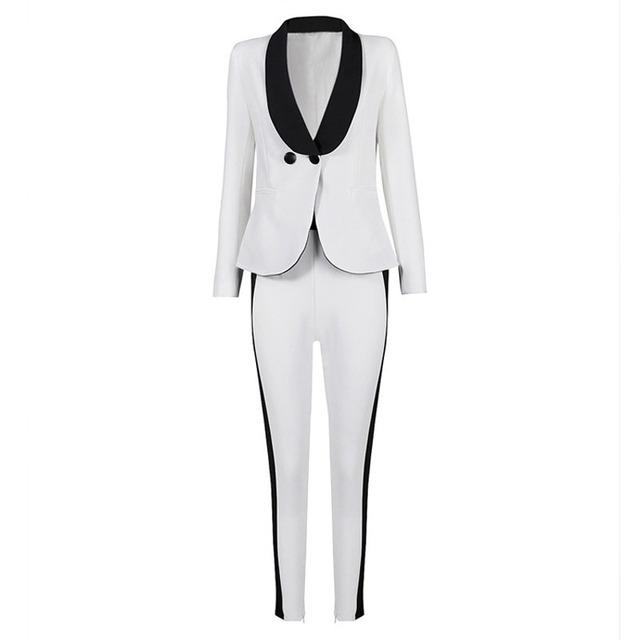 Por encargo de Marfil Mujeres Juegos de Bragas Mantón de la Solapa de Moda Señoras Largas de la Manga Un Botón de la chaqueta + pants DR665