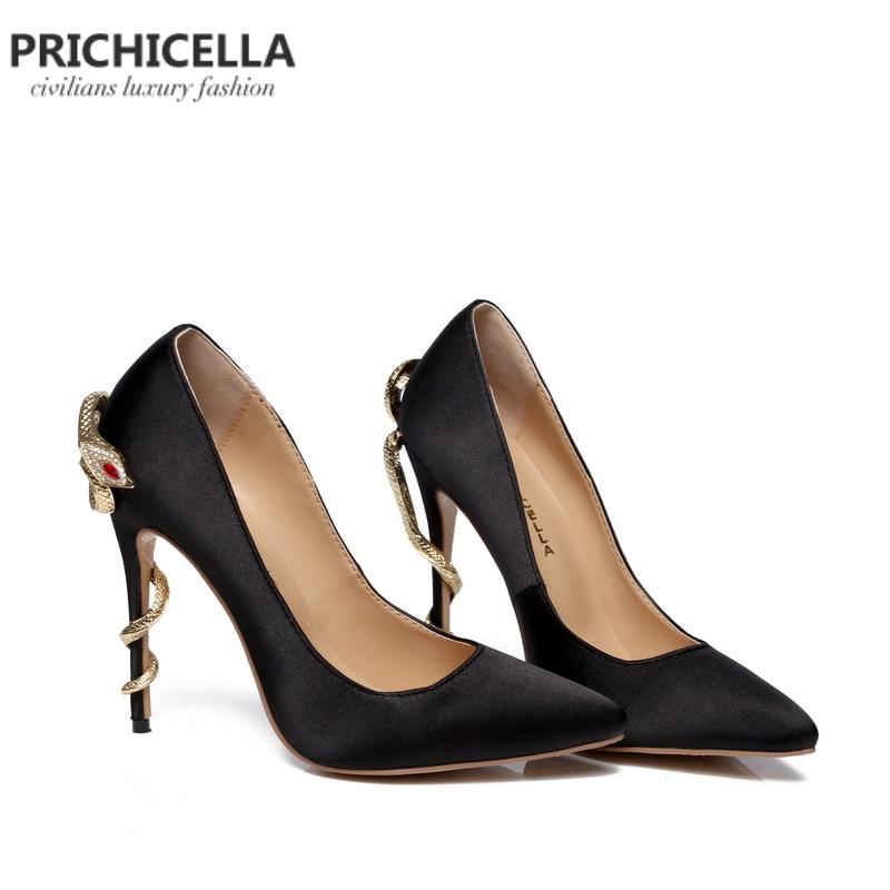 PRICHICELLA/атласные золотые туфли под платье на каблуке под змеиную кожу; уникальные туфли лодочки на высоком каблуке с острым носком из натуральной кожи - 4