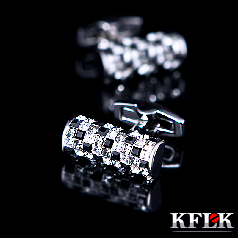 KFLK Jewelry shirt cufflinks for mens Brand Black and White Crystal cuff links Buttons High Quality