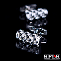 KFLK Jewelry shirt cufflinks for mens Brand Black and White Crystal cuff links Buttons High Quality Luxury Wedding Free Shipping