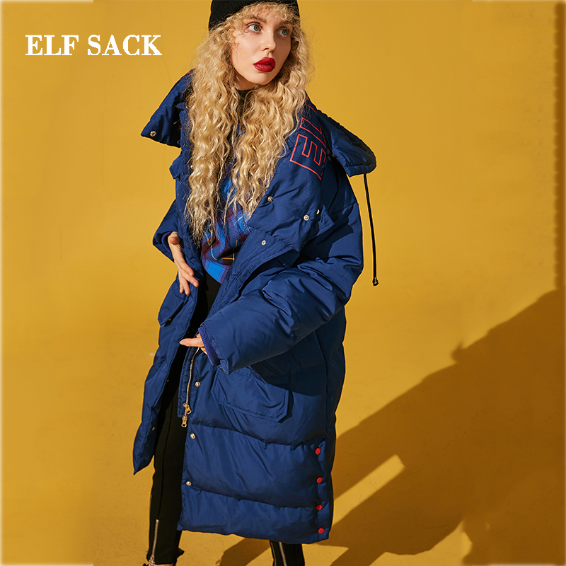 ELF SACK Winter New Warm Women   Down     Coat   90% White Duck   Down   Casual Full Woman Long Wide-waisted Letter Femme Lady Outerwear