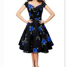 Women's Retro Floral Print Cross Front Boat Neck Slim Big Swing Dress