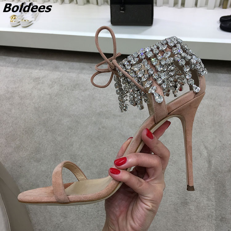 Trendy Crystal High Heel Sandals Women One Belt Glittery String Crystal Ankle Wrap Stiletto Shoes Lace Up Dress Sandals