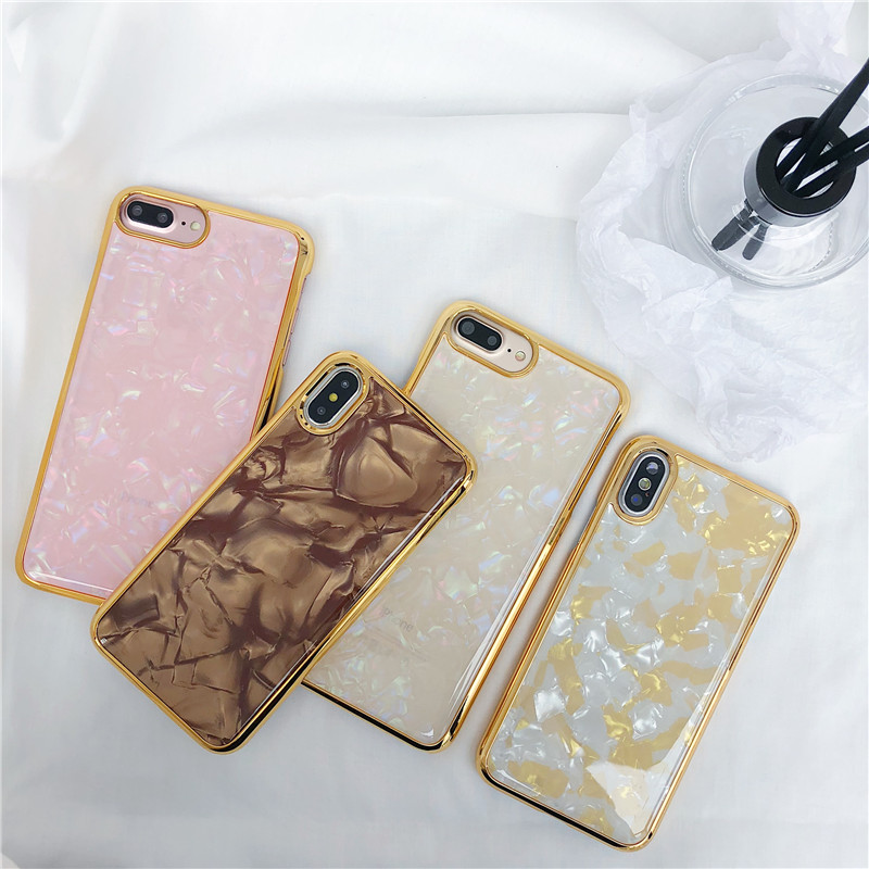 Beautiful Fresh Conch Shell Protection Hybrid Shockproof Defender Case Gold Plating Hard Back Cover For iphone X 7 8 6 6S Plus