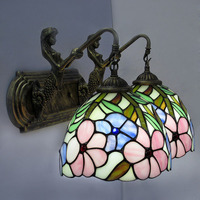 Настенная лампа в стиле Тиффани в европейском стиле барокко цветное стеклянный настенный канделябр зеркало Спальня Ванная комната кабинет