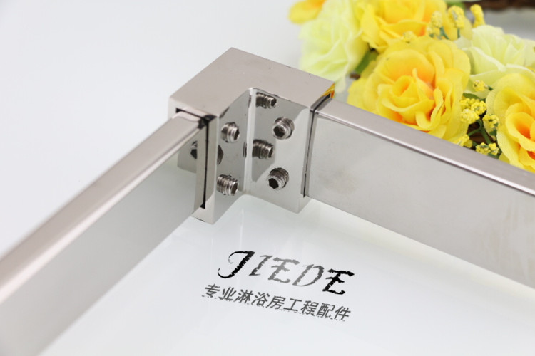Shower room accessories glass rod 304 square tube connection head angle 90 degree elbow rod head 10*30