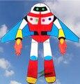 O envio gratuito de alta qualidade lindo robô com papagaio linha crianças pipa weifang kite poder corda pro line hcxkite fábrica