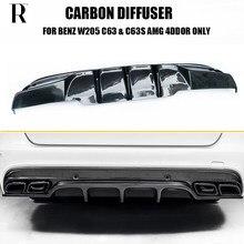 Lame de pare-choc arrière en Fiber de carbone, accessoire de voiture, Mercedes Benz W205 Sedan S205 Wagon C63 et C63s Amg (non compatible avec 2 portes)