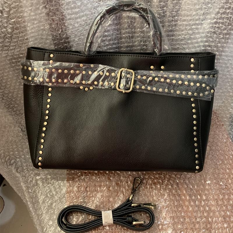 Brand Handbag 100% Genuine Leather Bag Female High Quality Fashion Rivet Design Crossbody Shoulder Bags For Women Top-Handle Bag