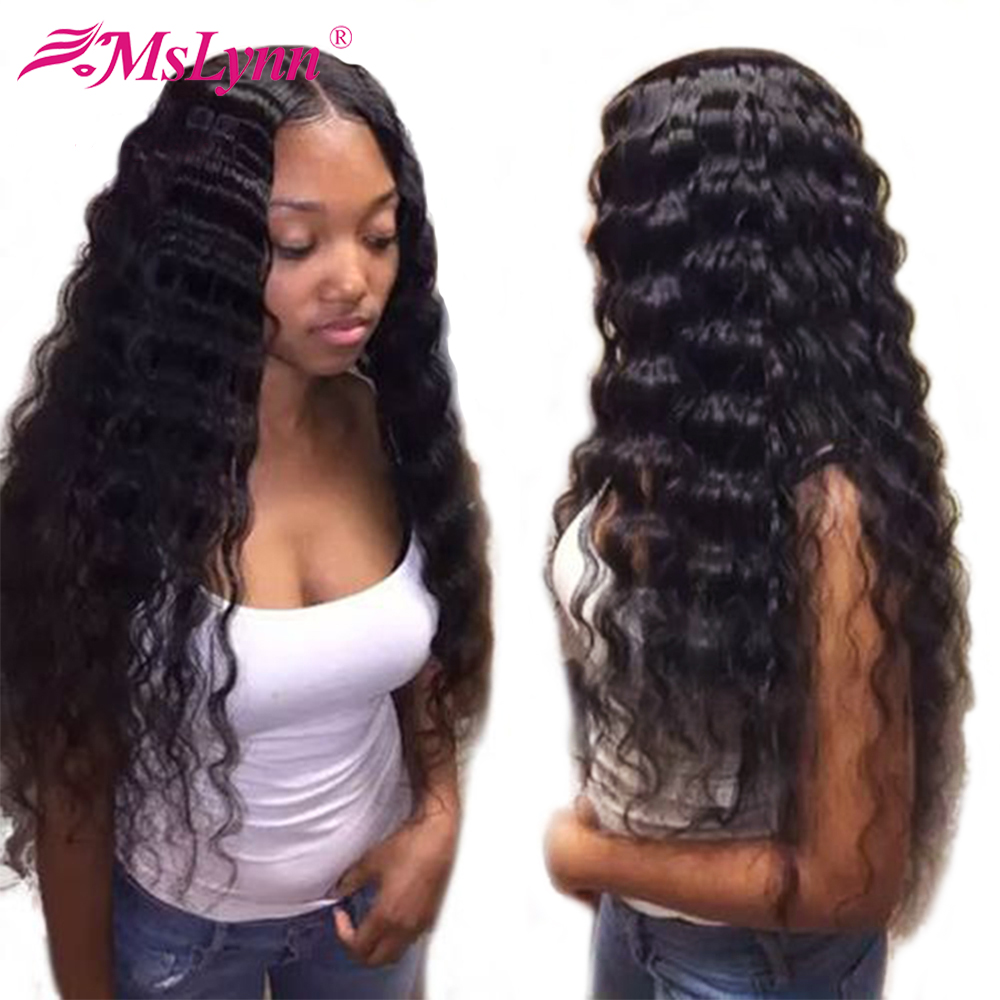 Mslynn עמוק גל פאת מראש קטף תחרה פאת Glueless מלא תחרה פאות שיער טבעי עם תינוק שיער 180% צפיפות פאות עבור נשים רמי # 1B
