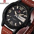 Moda homens relógio naviforce top de luxo da marca casuais relógios pulseira de couro homens relógio do esporte de quartzo relógio de pulso dos homens à prova d' água