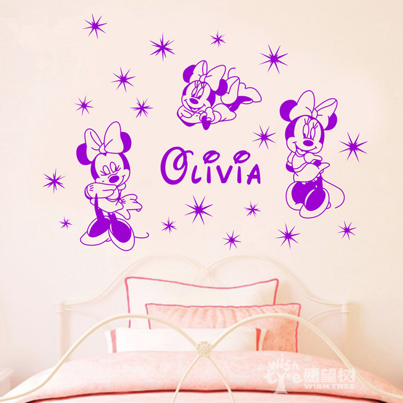 Three Minnie Mouse roommates Wall Sticker Custom Name Home Girls Bedroom Art Decor Wall Mural Free Shipping Wall Decals Y 614 in Wall Stickers from Home Garden