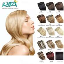7A 100% Straight Clip In Human Hair Extensions Full Head Coarse Human Hair Clip In Extensions Brazilian Virgin Straight Clip Ins