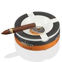 COHIBAแบบพกพาซิการ์Ashtray HomeเซรามิคAshtray Luxuryยาสูบ4 Restผู้ถือซิการ์Ashถาด