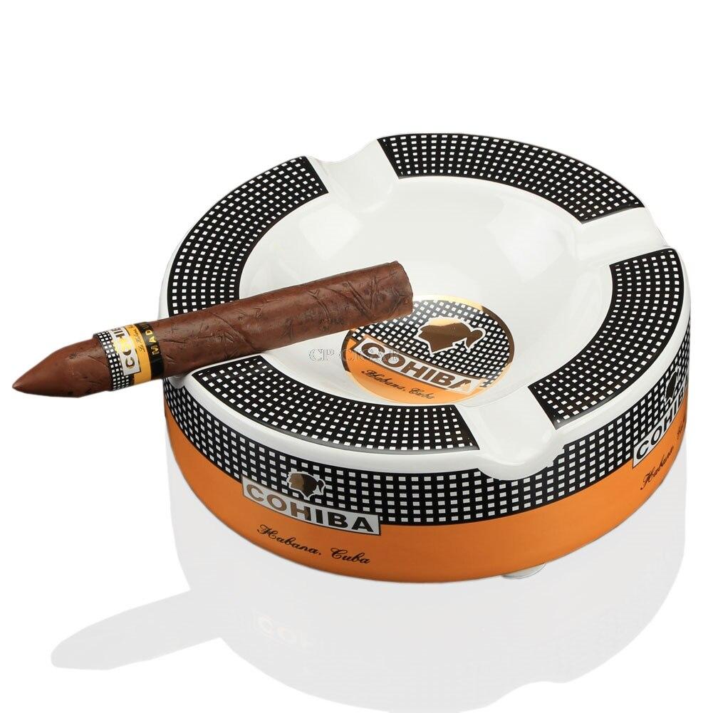 COHIBA портативная пепельница для сигар, домашняя керамическая пепельница, роскошный табак, 4 держателя для хранения сигар, пепельница-in Пепельницы from Дом и животные on AliExpress