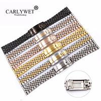 CARLYWET 20 22mm Wholesale Stainless Steel Glide Replacement Wrist Watch Band Strap Bracelet For Omega IWC Tudor Seiko Breitling