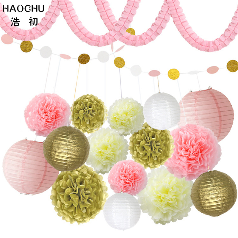 Party Diy Decorations Haochu 18pcs/set Pink White Tissue Paper Pom Poms Round Lantern Glitter Paper Garland Bunting Home Holiday Party Decor Xmas Gift Home & Garden