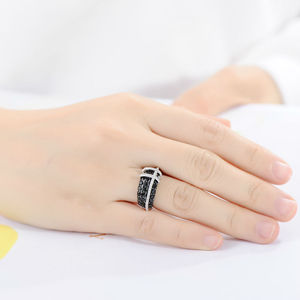 Image 5 - Santuzza anel de prata para as mulheres 925 prata esterlina qualidade superior aaa + zircônia cúbica natural preto pedras anel moda jóias