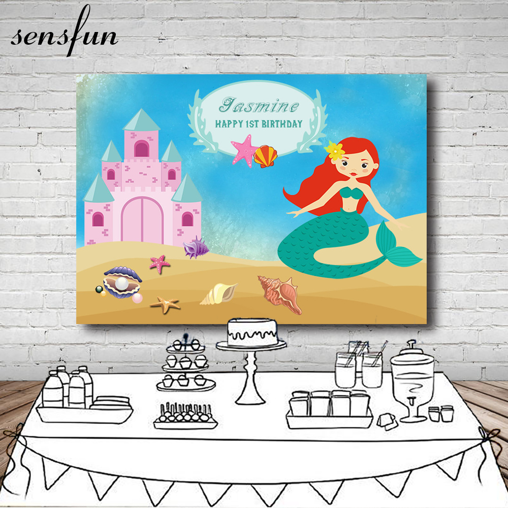 Little Mermaid Birthday Party Backdrop Palace Sky Blue Sand Mussel Pearls Girls Baby Shower Newborn Backgrounds Photocall