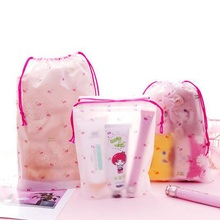 Travel Transparent Scrub Cherry Cosmetic Bag ravel Storage Cartoon Waterproof Organizer Clothes Packing Drawstring