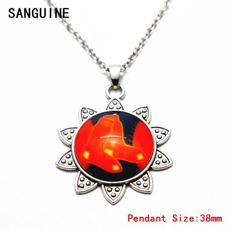 Newest Sunflower Style Sports Baseball Boston Red Sox Glass Big Pendant Necklace Free Chain For Women Necklace DIY Jewelry