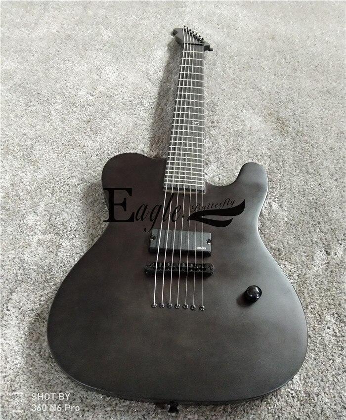 Aigle. Papillon, basse électrique, guitare électrique boutique personnalisée, 22 noir mat métal personnalisé rock tele 7 cordes guitare électrique.