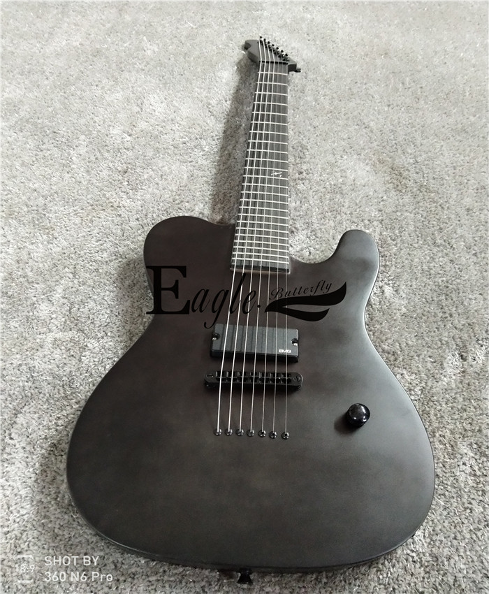 Águia. Borboleta Baixo Elétrico Guitarra Elétrica Loja Personalizada 22 Preto Fosco Personalizado Metal Rock Tele 7 Cordas Elétrica.
