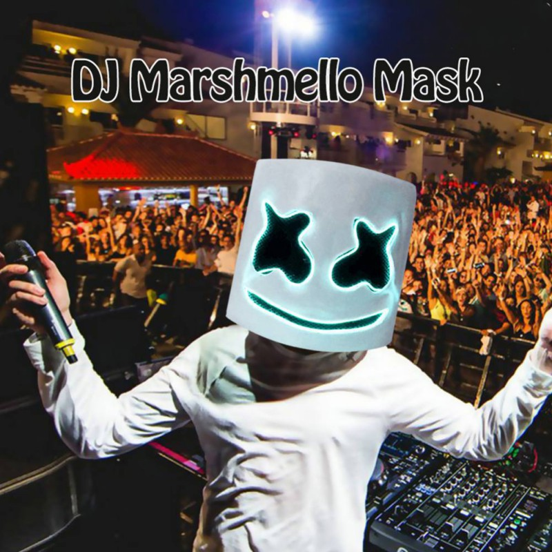 2019 Halloween Party Mask Night Club Latex White Mask Adult DJ Marshmallow Mask Cosplay Costume Helmet Sale