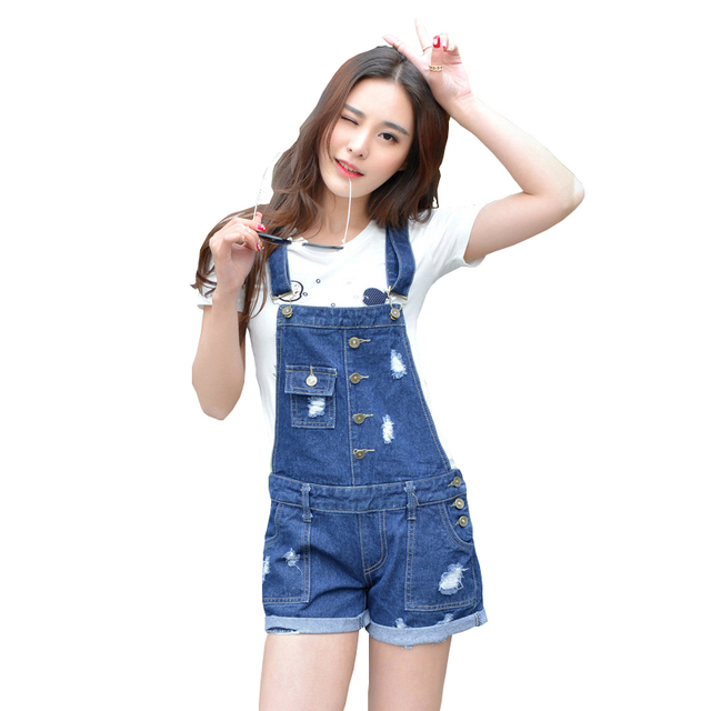 68cc6008af5c Womens Denim Jumpsuit Overalls Girls Summer Jumpsuits Rompers Casual Strap  Hole Ripped Pockets Shorts Jeans Coverall