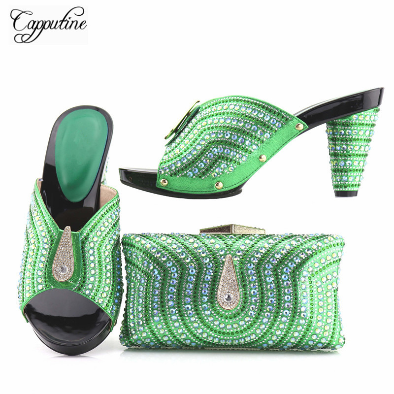 Capputine Latest Fashion Italian Shoes With Matching Bags African Green Color High Heel Women Shoes And Bags Set For Prom Party aidocrystal luxury handmade crystal sunflower high heel women italian shoes with matching bags