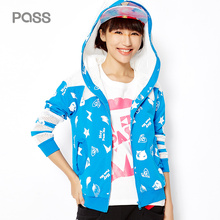 PASS 2017 High Quality Women Spring Jacket Personalized Street Style Net Patchwork Hat Long Sleeve Female Print Short Jackets