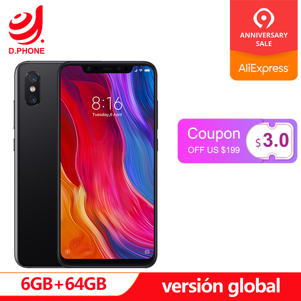 Espanha 1 ~ 5 Dias Úteis Versão Global Xiao mi mi mi 8 8 Snapdragon 845 GB 64 6 GB octa Núcleo NFC Tela Cheia Rosto Unlock Smartspone