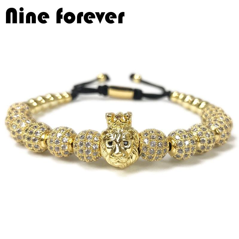 Neun für immer krone löwe bezaubert perlen Armband männer schmuck Flechten Macrame Armbänder pulseira masculina geschenk bileklik