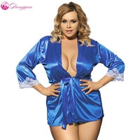DangYan Sexy Lingerie Hot Lace Erotic Sleepwear Kimono Plus Size Sexy Night Robe Erotic Clothes For