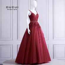 V-Neck Lace Appliques Formal Evening Dress