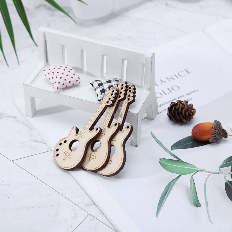 10PCS Violin Shape LASER CUT WOODEN Wood Craft Art Decoration Embellishment