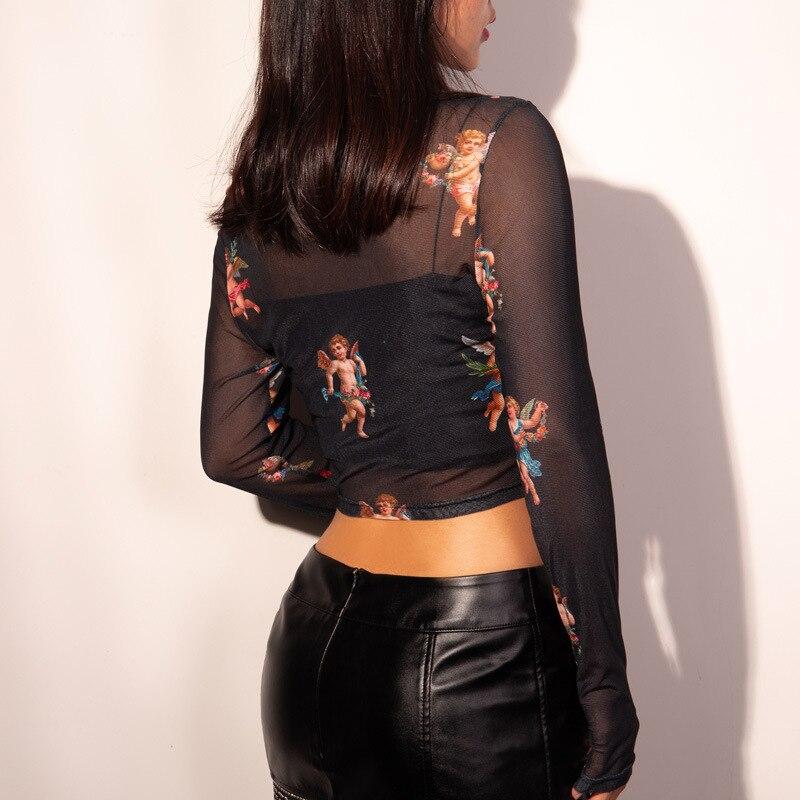 New Fashion Women See-through Sheer Mesh Fishnet T-Shirt Fashion Top Cute Angel Printed Female Summer Mesh Tops 6