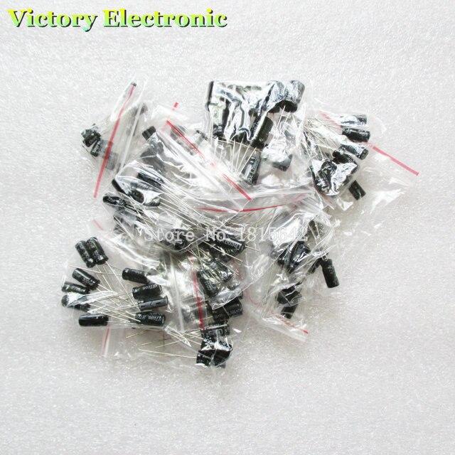 120 шт./лот 12 значения 0.22 мкФ-470 мкФ Алюминий электролитический конденсатор Ассортимент Комплект Набор