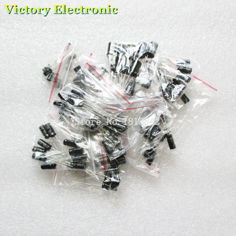 120PCS/LOT 12 values 0.22UF-470UF Aluminum electrolytic capacitor assortment kit set pack e cap aluminum 16v 22 2200uf electrolytic capacitors pack for diy project white 9 x 10 pcs