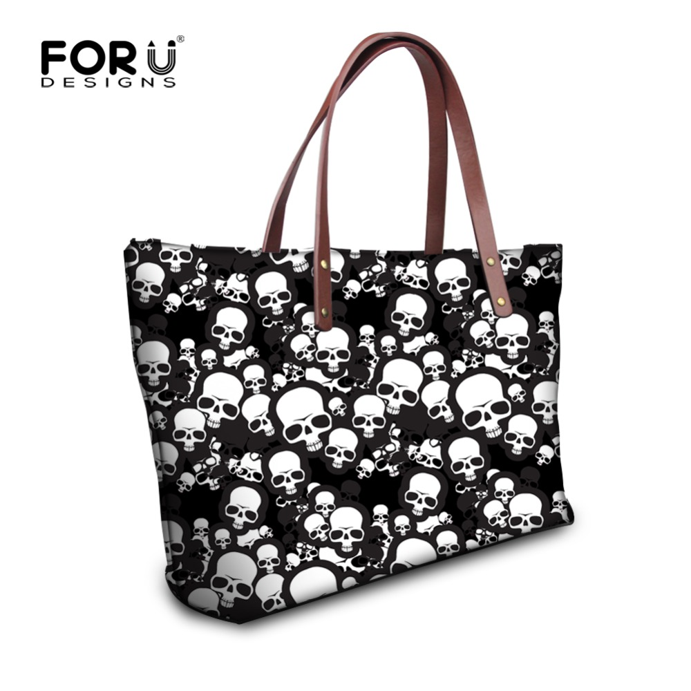 FORUDESIGNS Skull Design Woman Handbags Ladies Tote Bags Causal Shoulder Bag Cool Punk Style Large Shopping