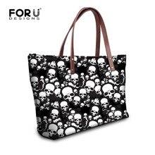 Forudesigns schädel design frau handtaschen damen tragetaschen kausalen schultertasche cool punk stil große einkaufstasche bolsos mujer