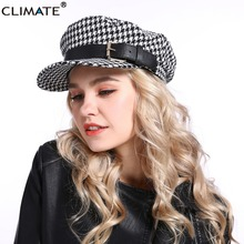 CLIMATE Fashion Women Houndstooth Cap Modern Navy Sailor Cap Hats Punk Cool Marine Hat Caps Military Army Caps for Woman Lady military hats white captain sailor hat navy marine caps with anchor army hats for women men child fancy cosplay hat accessories