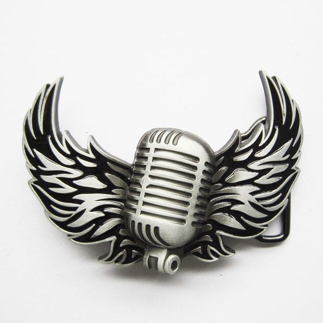 Retail Distribute Microphone Flying Wings Rock Music Belt Buckle BUCKLE-MU113  Free Shipping