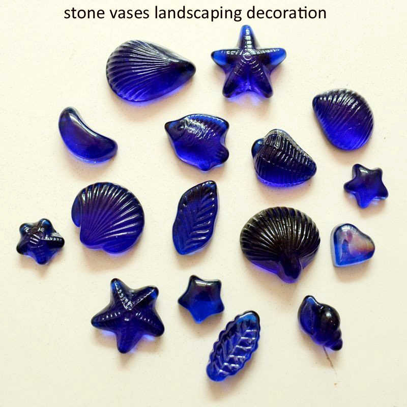 Free Shipping Dark blue glass beads fish tank aquarium stone vases landscaping decoration 500 g