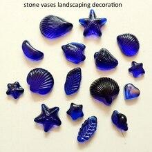 Free Shipping Dark blue glass beads  fish tank aquarium stone vases landscaping decoration 500 g