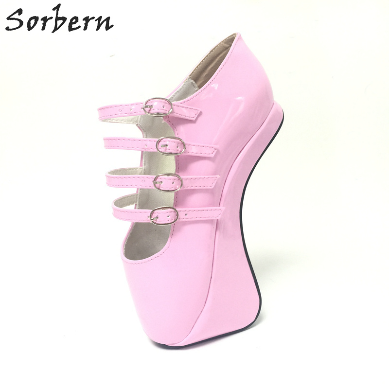 Sorbern Pink Novelty Super High 18CM Hoof Heelless Ballet Pump Shoes Sexy Fetish Shoes High Heel Custom Color/Material Pumps hot sale custom make 18cm sexy super high heel patent leather shoes performance star model shoes wedding shoes party shoes