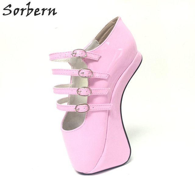 Sorbern Pink Novelty Super High 18CM Hoof Heelless Ballet Pump Shoes Sexy Fetish Shoes High Heel Custom Color/Material Pumps