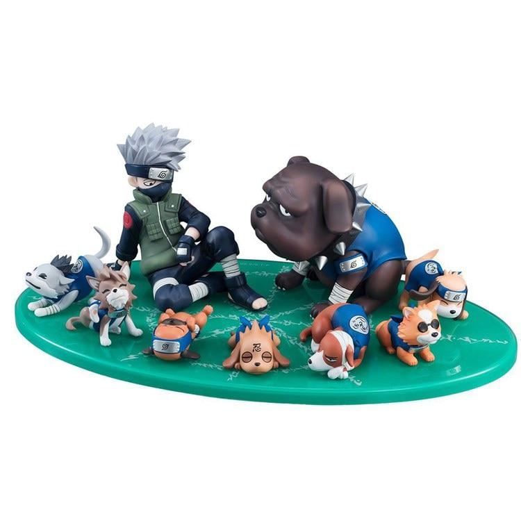 9pcs/set Naruto Shippuden Figure Hatake Kakashi Eight Ren Dogs PVC Action Figures Collectible Model Toy Gift juguetes doll hot